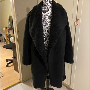 Women's New Black drape Front Teddy coat XLarge!